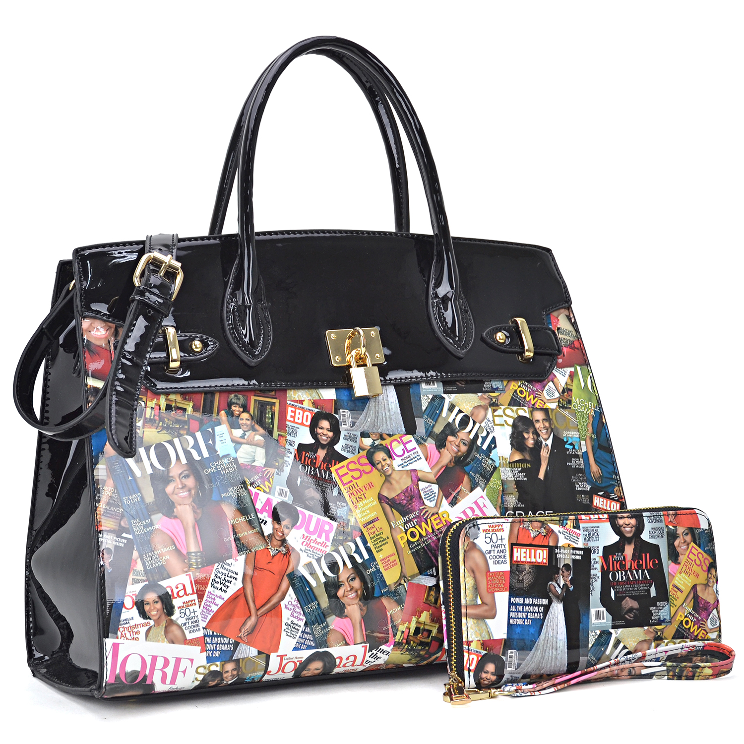 Michelle Obama Magazine Cover Printed Patent Leather Satchel with padlock deco and with Matching wallet